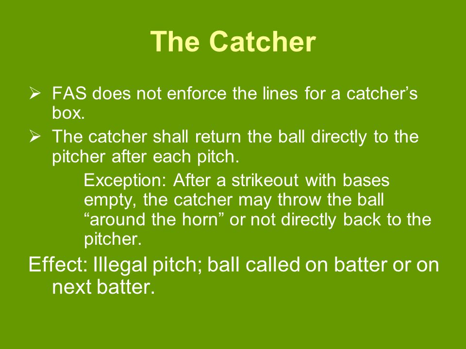 The Catcher  FAS does not enforce the lines for a catcher's box.