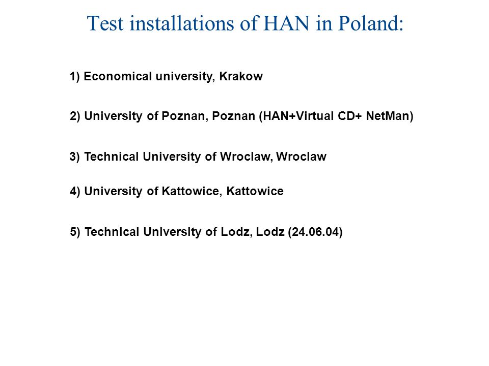 Test installations of HAN in Poland: 5) Technical University of Lodz, Lodz (24.06.04) 1) Economical university, Krakow 3) Technical University of Wroclaw, Wroclaw 2) University of Poznan, Poznan (HAN+Virtual CD+ NetMan) 4) University of Kattowice, Kattowice