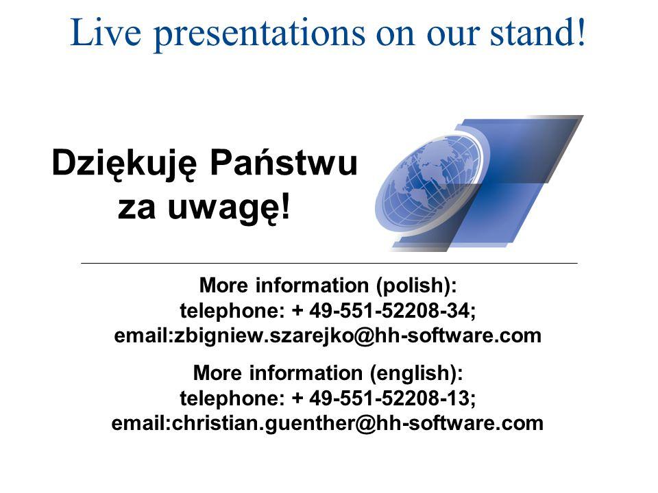 Live presentations on our stand. Dziękuję Państwu za uwagę.