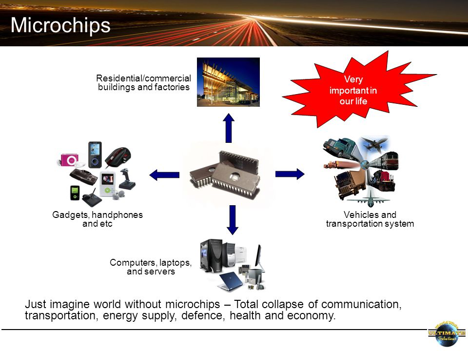 Microchips Just imagine world without microchips – Total collapse of communication, transportation, energy supply, defence, health and economy.