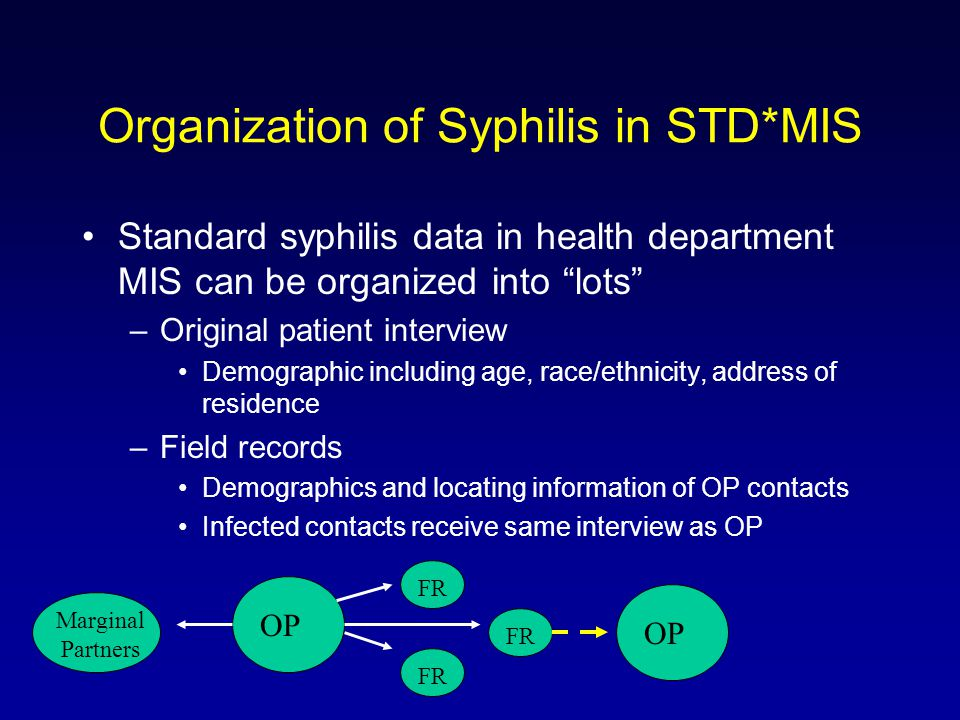 Organization of Syphilis in STD*MIS Standard syphilis data in health department MIS can be organized into lots –Original patient interview Demographic including age, race/ethnicity, address of residence –Field records Demographics and locating information of OP contacts Infected contacts receive same interview as OP OP FR Marginal Partners OP