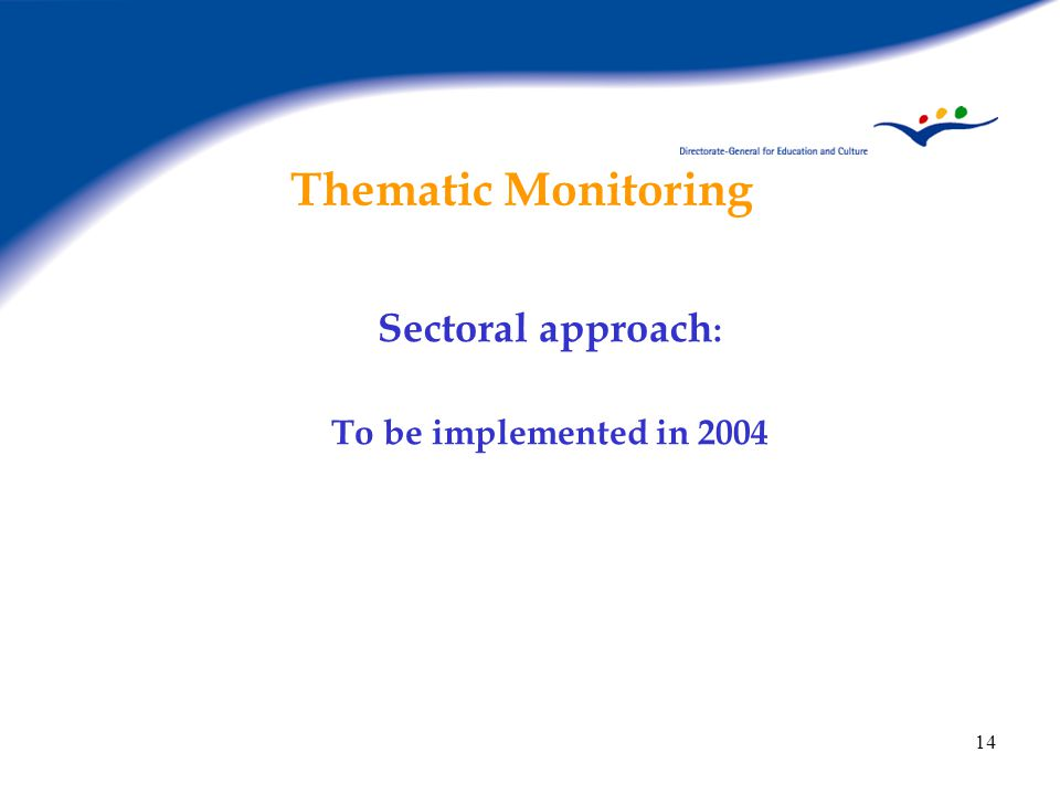 14 Thematic Monitoring Sectoral approach : To be implemented in 2004