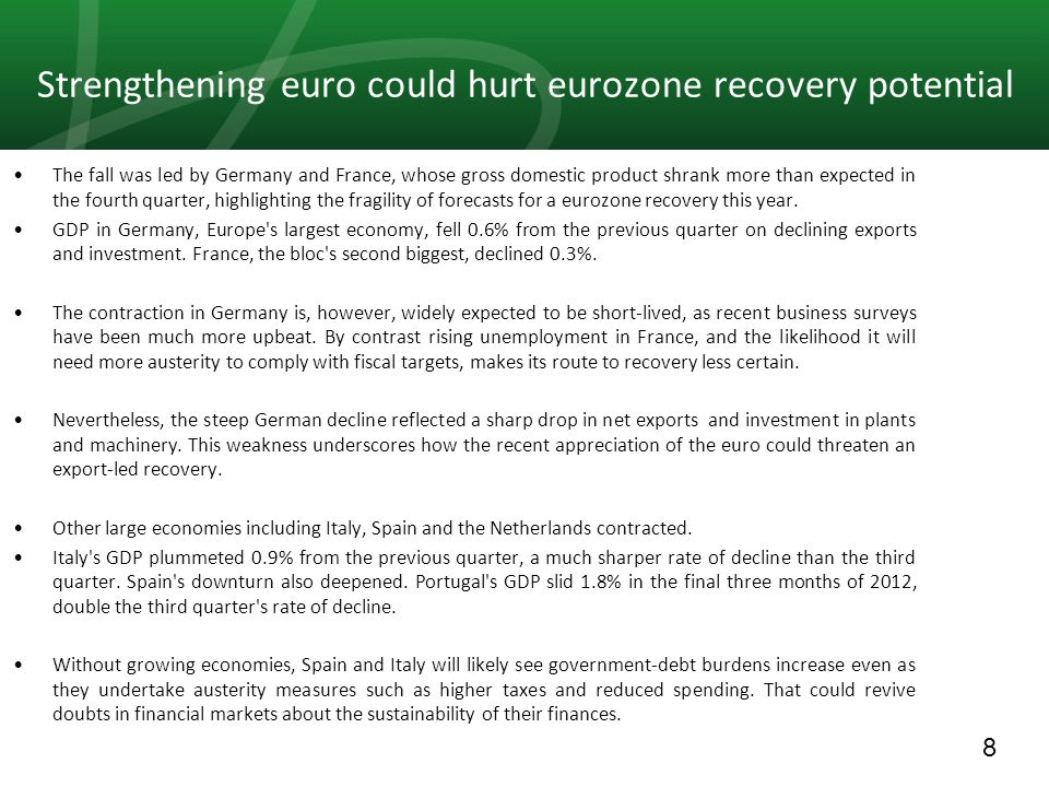 8 Strengthening euro could hurt eurozone recovery potential The fall was led by Germany and France, whose gross domestic product shrank more than expected in the fourth quarter, highlighting the fragility of forecasts for a eurozone recovery this year.