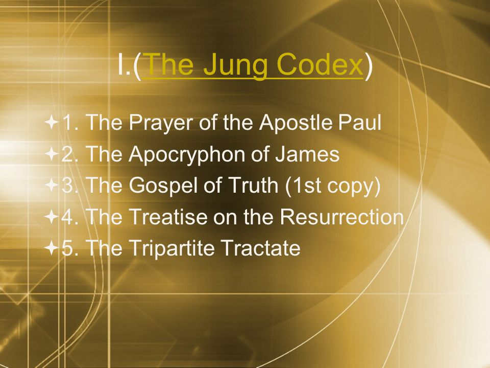II. 1. The Apocryphon of John (1st copy -- long version)  2.