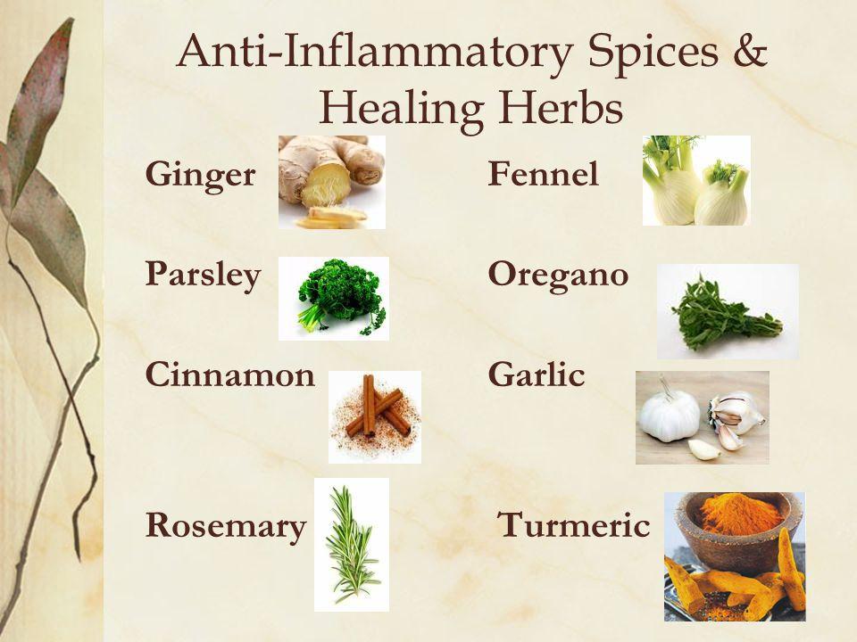 Anti-Inflammatory Spices & Healing Herbs Ginger Fennel ParsleyOregano CinnamonGarlic Rosemary Turmeric
