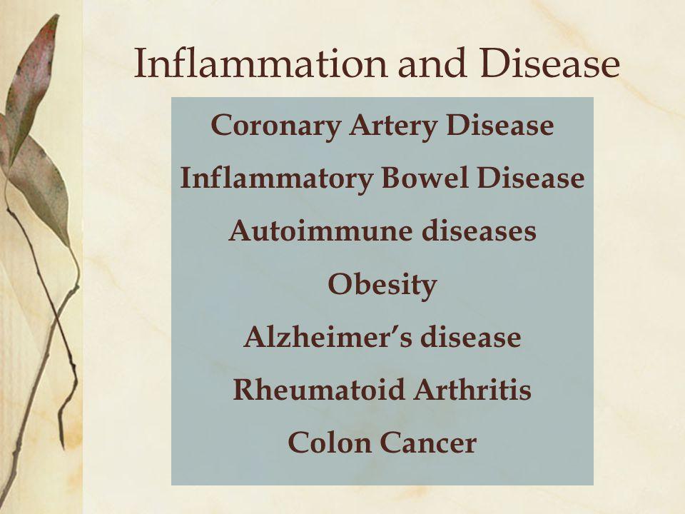 Inflammation and Disease Coronary Artery Disease Inflammatory Bowel Disease Autoimmune diseases Obesity Alzheimer's disease Rheumatoid Arthritis Colon Cancer