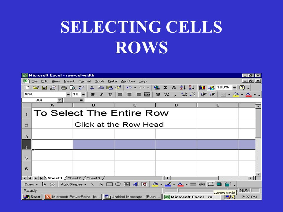 SELECTING CELLS ROWS