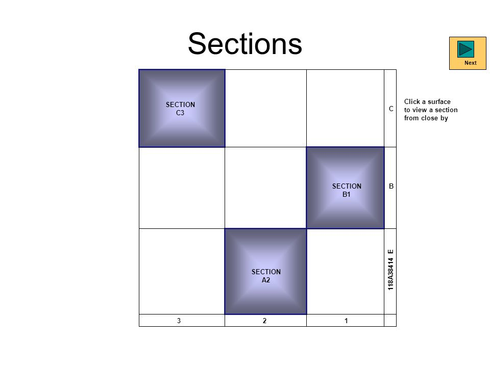 Sections SECTION C3 SECTION B1 SECTION A2 C B 321 118A38414 E Click a surface to view a section from close by Next