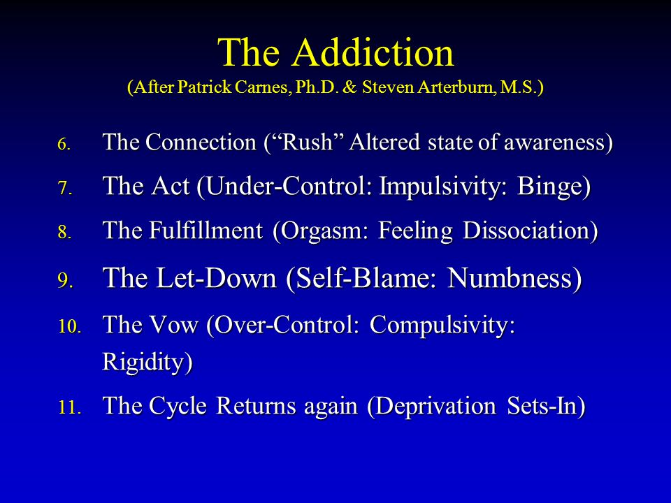 The Addiction (After Patrick Carnes, Ph.D. & Steven Arterburn, M.S.) 6.