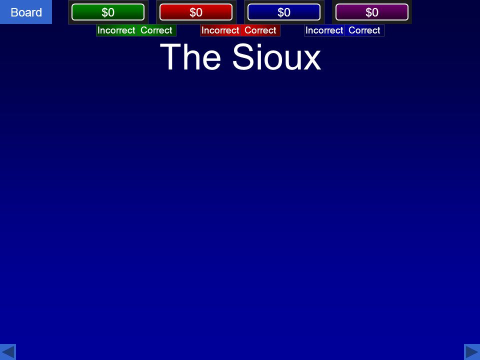 Board $0 The Sioux CorrectIncorrectCorrectIncorrectCorrectIncorrect CorrectIncorrect