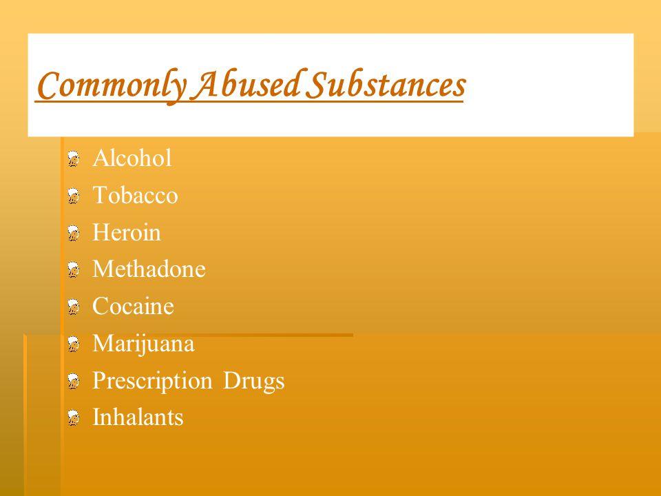 Commonly Abused Substances Alcohol Tobacco Heroin Methadone Cocaine Marijuana Prescription Drugs Inhalants