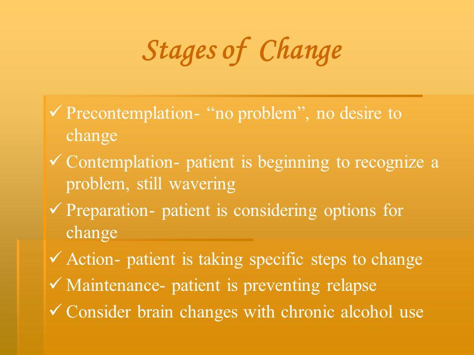"Stages of Change Precontemplation- ""no problem"", no desire to change Contemplation- patient is beginning to recognize a problem, still wavering Prepar"