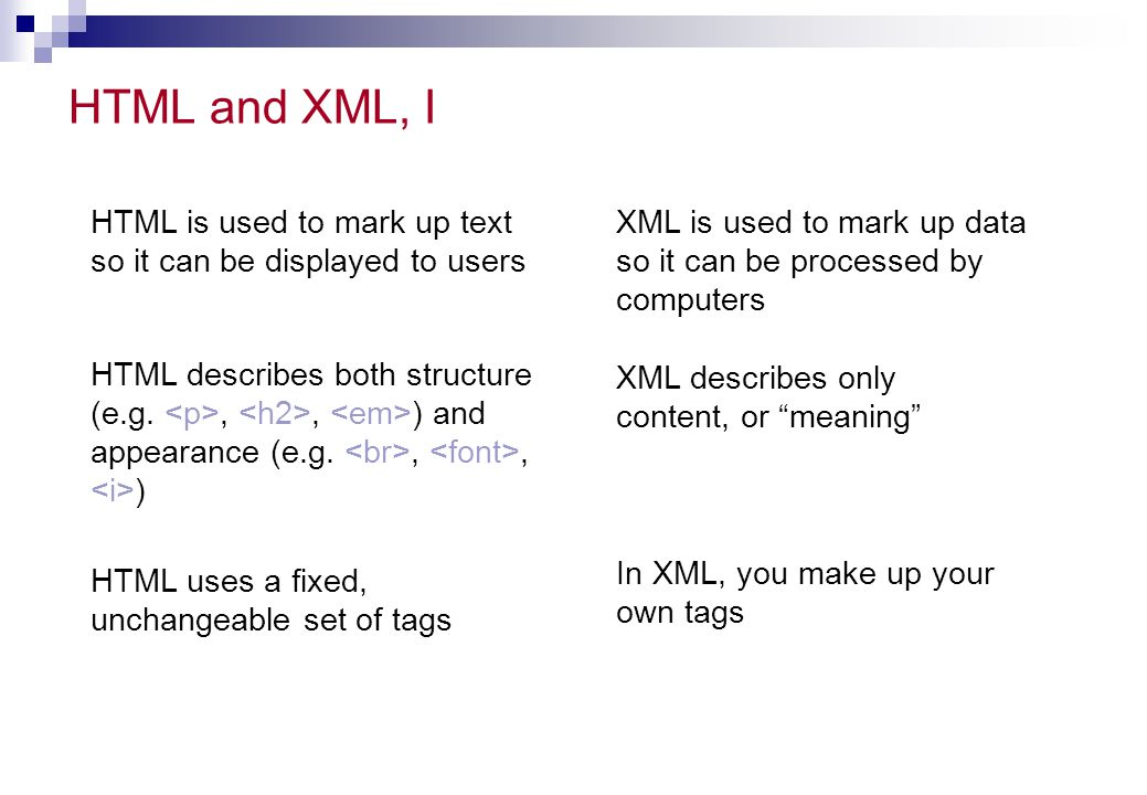 Namespaces: Overview Part of XML's extensibility Allow authors to differentiate between tags of the same name (using a prefix)  Frees author to focus on the data and decide how to best describe it  Allows multiple XML documents from multiple authors to be merged Identified by a URI (Uniform Resource Identifier)  When a URL is used, it does NOT have to represent a live server