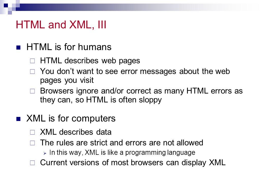 Example: the css file CATALOG { background-color: #ffffff; width: 100%; } CD { display: block; margin-bottom: 30pt; margin-left: 0; } TITLE { color: #FF0000; font-size: 20pt; } ARTIST { color: #0000FF; font-size: 20pt; } COUNTRY,PRICE,YEAR,COMPANY { Display: block; color: #000000; margin-left: 20pt; }