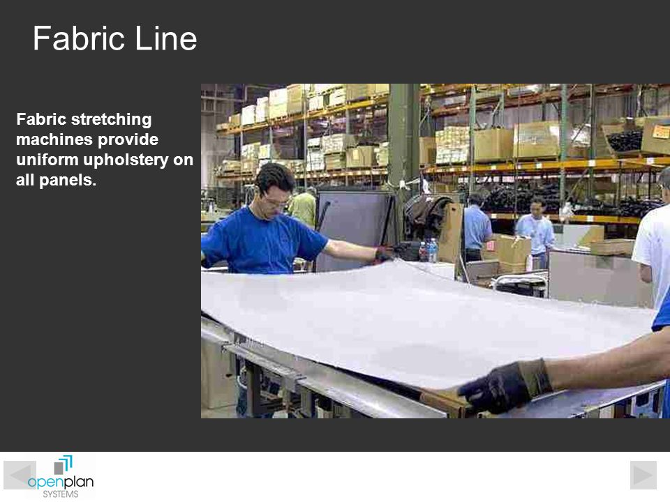 Fabric Line Fabric stretching machines provide uniform upholstery on all panels.
