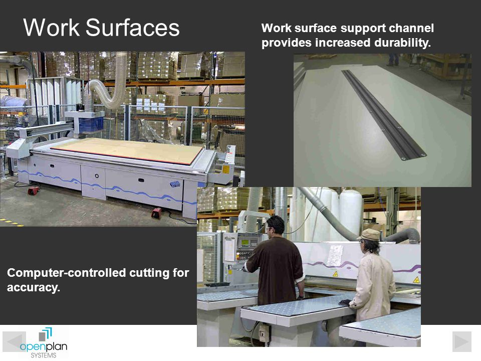 Work Surfaces Work surface support channel provides increased durability. Computer-controlled cutting for accuracy.