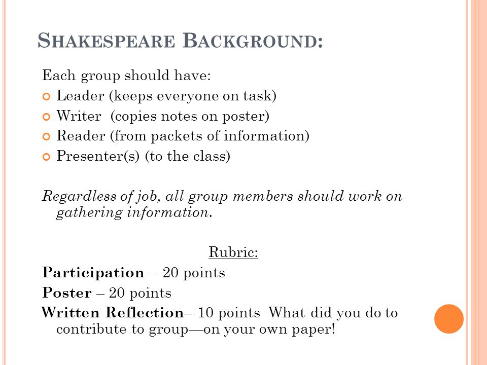 S HAKESPEARE B ACKGROUND : Each group should have: Leader (keeps everyone on task) Writer (copies notes on poster) Reader (from packets of information