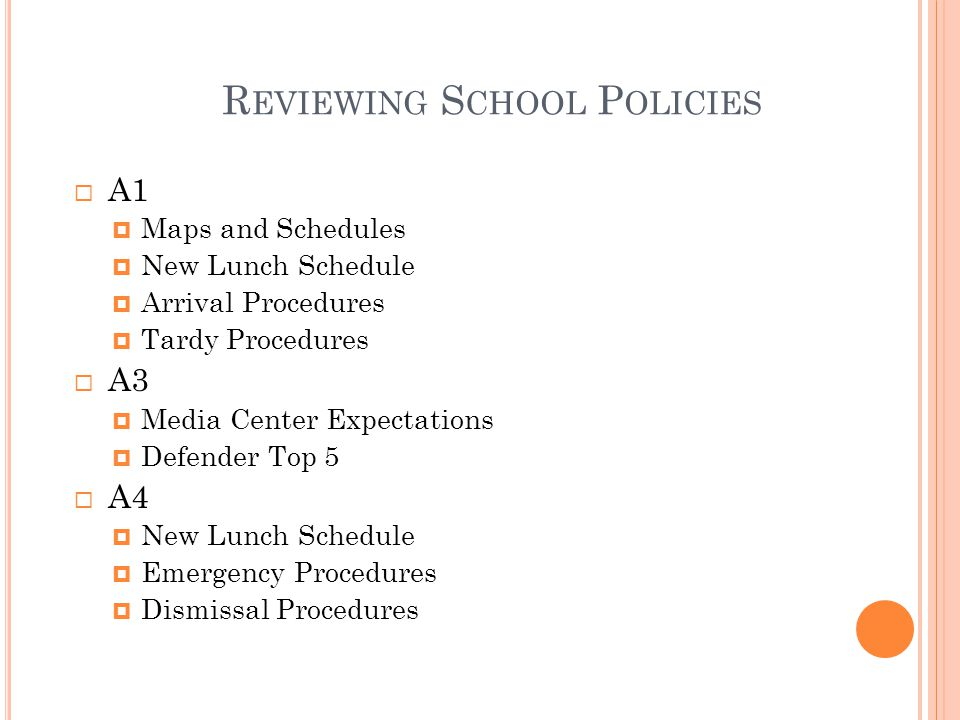 R EVIEWING S CHOOL P OLICIES  A1  Maps and Schedules  New Lunch Schedule  Arrival Procedures  Tardy Procedures  A3  Media Center Expectations  Defender Top 5  A4  New Lunch Schedule  Emergency Procedures  Dismissal Procedures