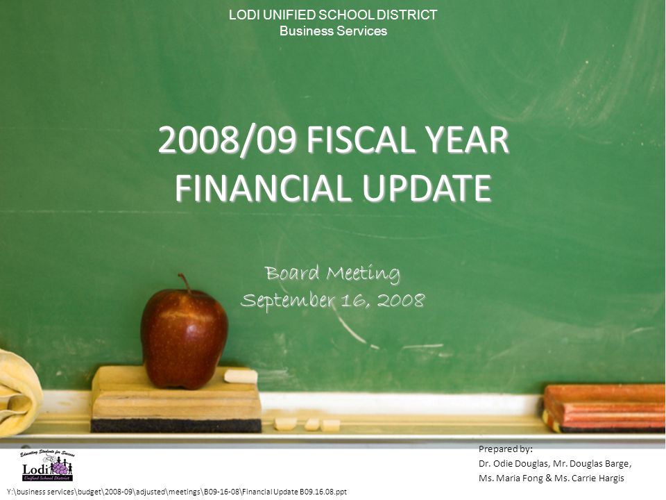 2008/09 FISCAL YEAR FINANCIAL UPDATE Board Meeting September 16, 2008 Y:\business services\budget\2008-09\adjusted\meetings\B09-16-08\Financial Update B09.16.08.ppt Prepared by: Dr.
