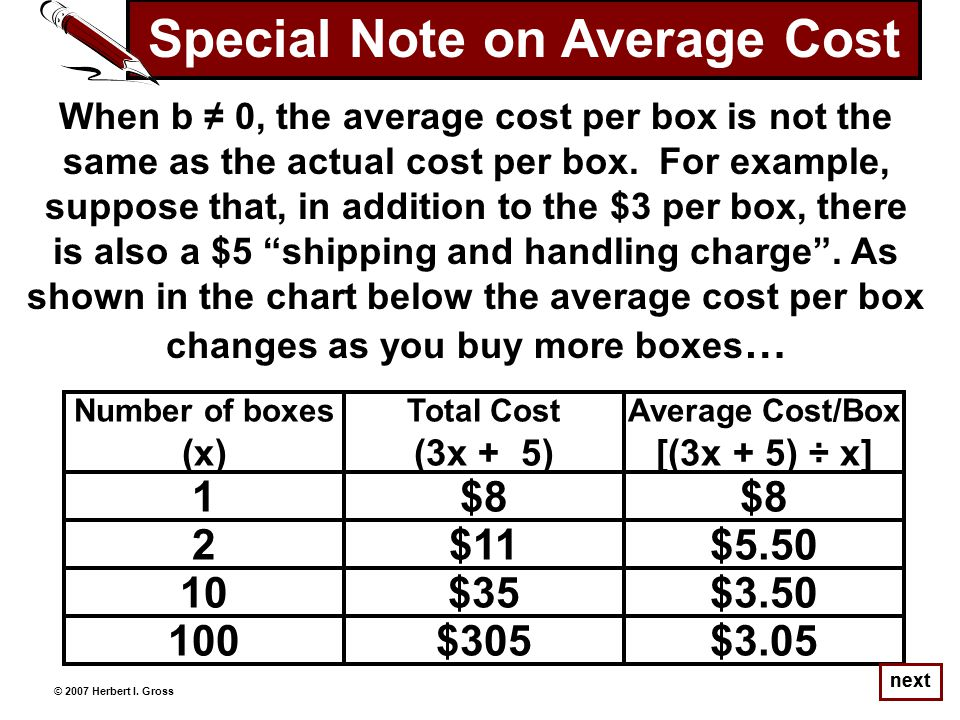 next When b ≠ 0, the average cost per box is not the same as the actual cost per box.