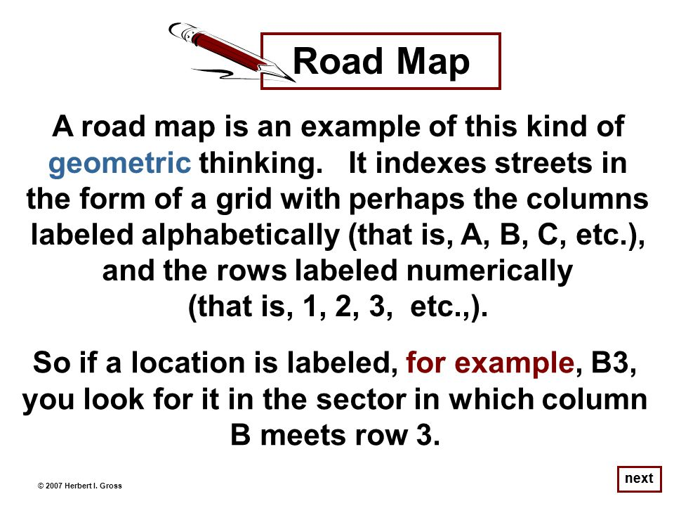 A road map is an example of this kind of geometric thinking.