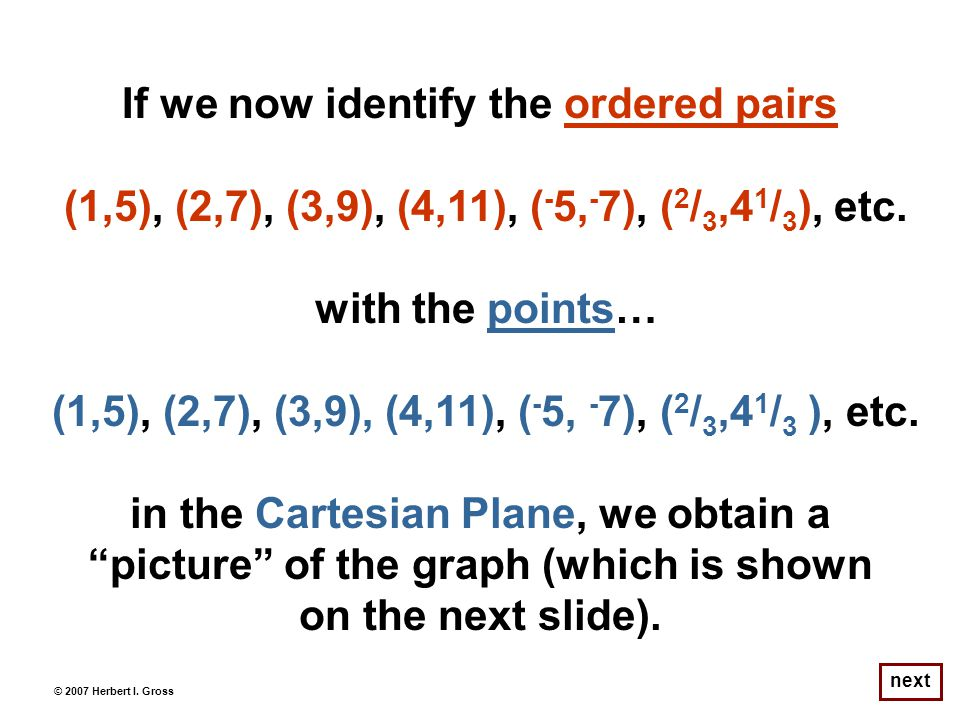 If we now identify the ordered pairs (1,5), (2,7), (3,9), (4,11), ( - 5, - 7), ( 2 / 3,4 1 / 3 ), etc.