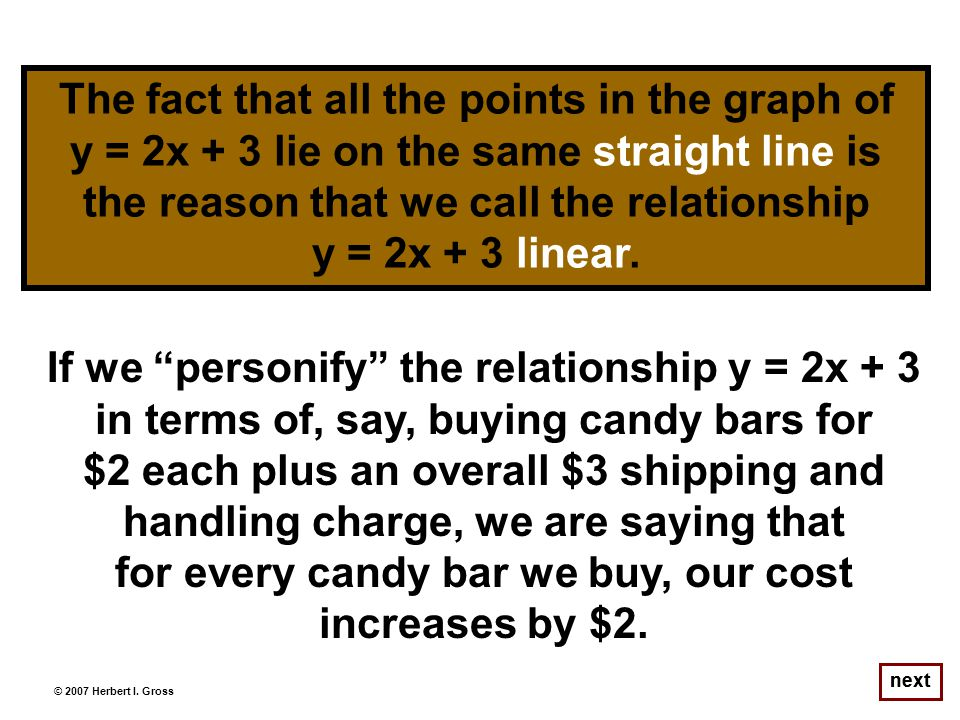 next If we personify the relationship y = 2x + 3 in terms of, say, buying candy bars for $2 each plus an overall $3 shipping and handling charge, we are saying that for every candy bar we buy, our cost increases by $2.