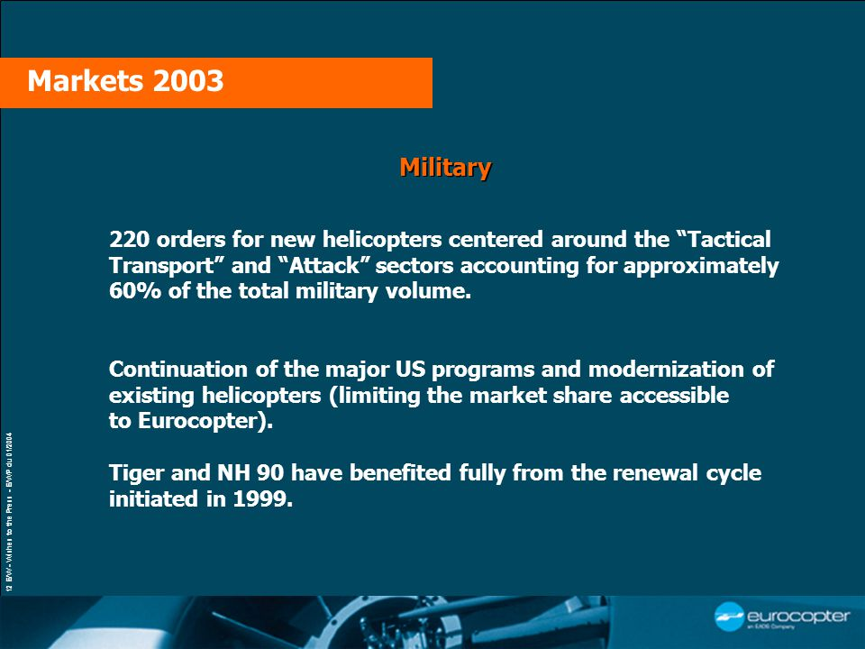 12 E/W - Wishes to the Press - E/WP du 01/2004 Military 220 orders for new helicopters centered around the Tactical Transport and Attack sectors accounting for approximately 60% of the total military volume.