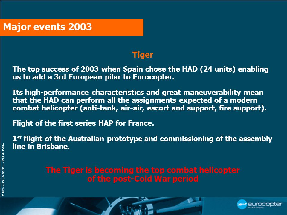 21 E/W - Wishes to the Press - E/WP du 01/2004 Tiger The top success of 2003 when Spain chose the HAD (24 units) enabling us to add a 3rd European pil
