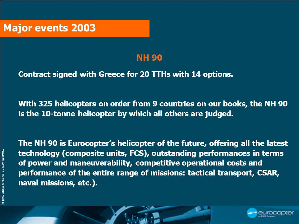 22 E/W - Wishes to the Press - E/WP du 01/2004 Contract signed with Greece for 20 TTHs with 14 options. With 325 helicopters on order from 9 countries