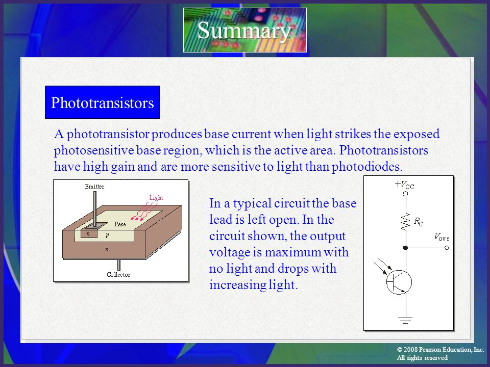 © 2008 Pearson Education, Inc. All rights reserved Phototransistors A phototransistor produces base current when light strikes the exposed photosensit