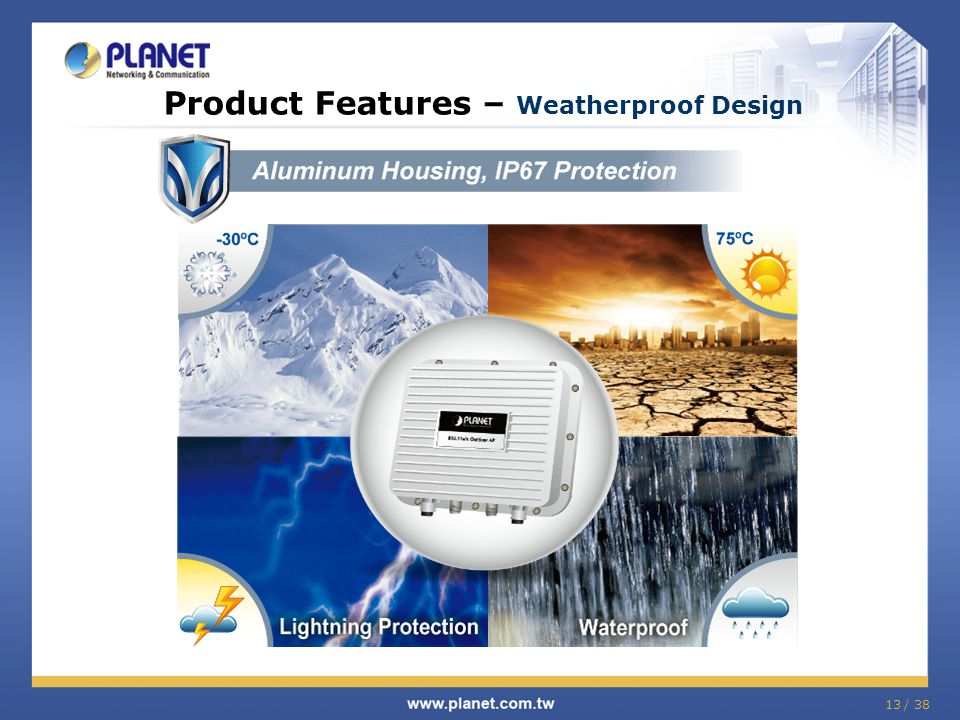 13 / 38 Product Features – Weatherproof Design
