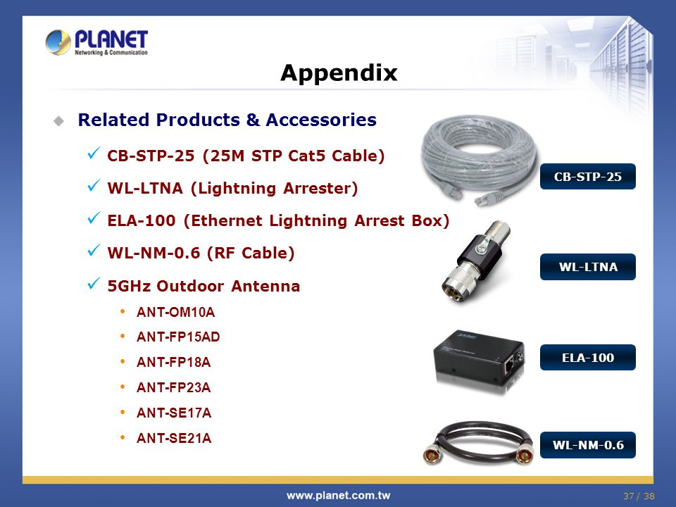 37 / 38  Related Products & Accessories CB-STP-25 (25M STP Cat5 Cable) WL-LTNA (Lightning Arrester) ELA-100 (Ethernet Lightning Arrest Box) WL-NM-0.6 (RF Cable) 5GHz Outdoor Antenna ANT-OM10A ANT-FP15AD ANT-FP18A ANT-FP23A ANT-SE17A ANT-SE21A Appendix CB-STP-25 WL-LTNA WL-NM-0.6 ELA-100