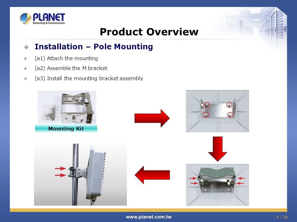 9 / 38 Product Overview  Installation – Pole Mounting  (a1) Attach the mounting  (a2) Assemble the M bracket  (a3) Install the mounting bracket assembly Mounting Kit