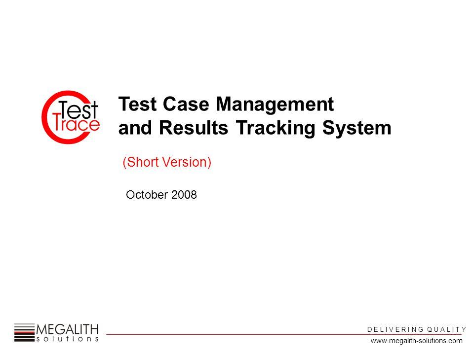 D E L I V E R I N G Q U A L I T Y www.megalith-solutions.com Test Equipment management