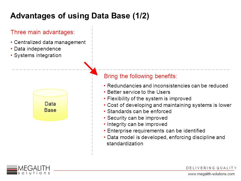 Three main advantages: Centralized data management Data independence Systems integration Advantages of using Data Base (1/2) Redundancies and inconsistencies can be reduced Better service to the Users Flexibility of the system is improved Cost of developing and maintaining systems is lower Standards can be enforced Security can be improved Integrity can be improved Enterprise requirements can be identified Data model is developed, enforcing discipline and standardization Bring the following benefits: Data Base D E L I V E R I N G Q U A L I T Y www.megalith-solutions.com