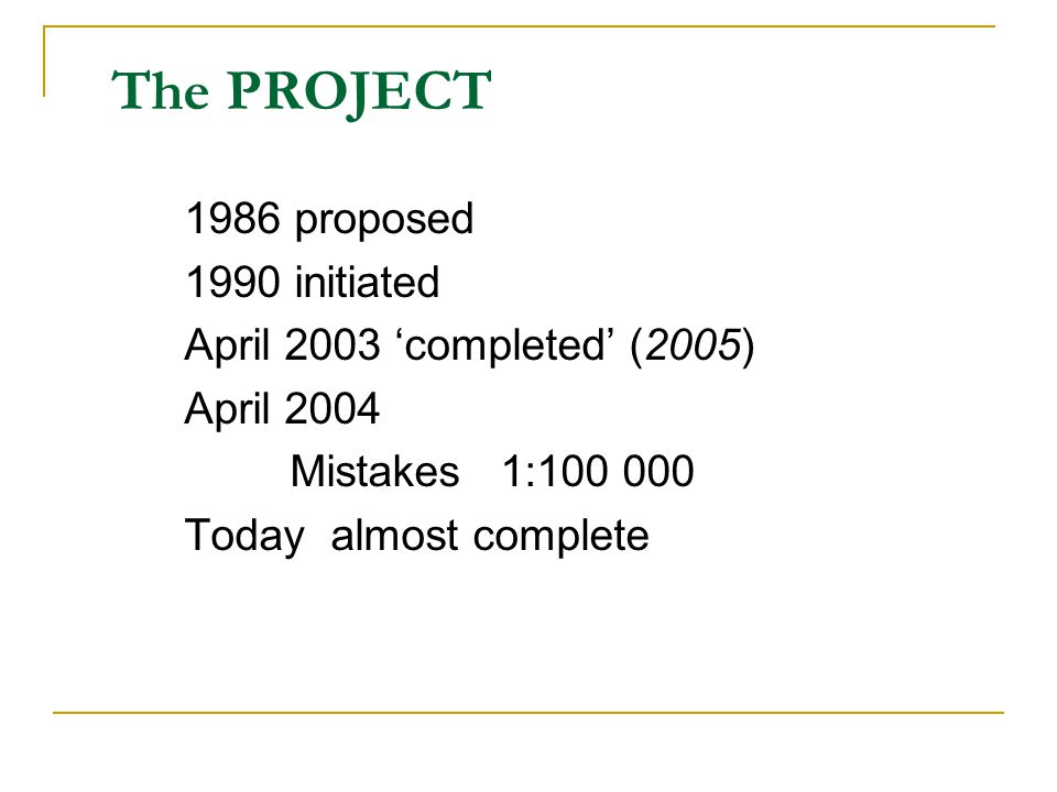 The PROJECT 1986 proposed 1990 initiated April 2003 'completed' (2005) April 2004 Mistakes 1:100 000 Today almost complete