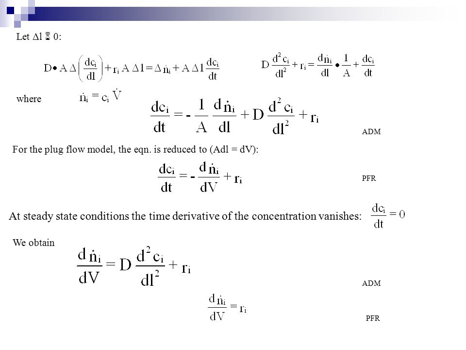 The volume element ΔV: Plug flow (PFR) and axial dispersion model (ADM) The accumulation term General mass balance