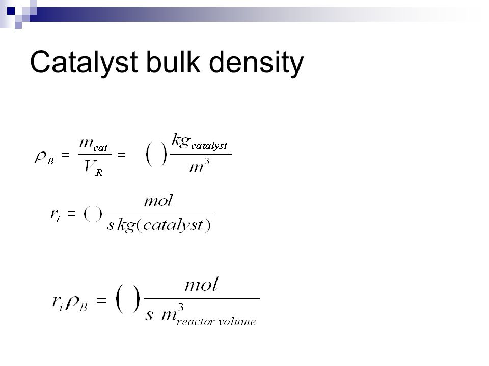 Models for packed beds Heterogeneous model  Separate balance equations for bulk phase and catalyst particles