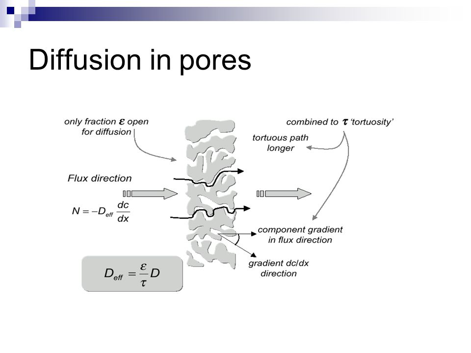 Diffusion i porous particle Catalyst surface