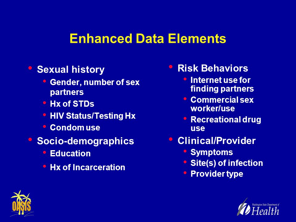 Enhanced Data Elements Sexual history Gender, number of sex partners Hx of STDs HIV Status/Testing Hx Condom use Socio-demographics Education Hx of Incarceration Risk Behaviors Internet use for finding partners Commercial sex worker/use Recreational drug use Clinical/Provider Symptoms Site(s) of infection Provider type