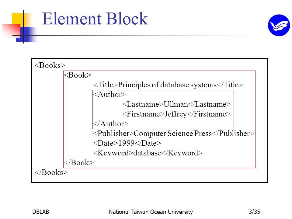 DBLABNational Taiwan Ocean University3/35 Principles of database systems Ullman Jeffrey Computer Science Press 1999 database Element Block