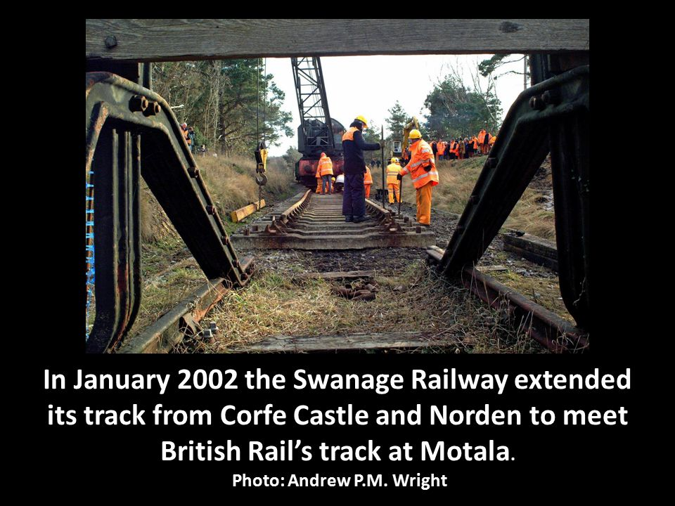 Tony North displays the 'Norden to Motala' Train Staff that was used to unlock the Trap Points leading onto the Swanage Railway.