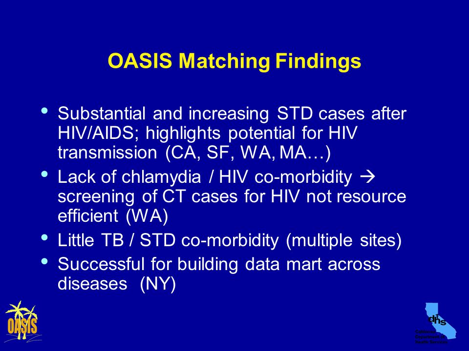OASIS Matching Findings Substantial and increasing STD cases after HIV/AIDS; highlights potential for HIV transmission (CA, SF, WA, MA…) Lack of chlamydia / HIV co-morbidity  screening of CT cases for HIV not resource efficient (WA) Little TB / STD co-morbidity (multiple sites) Successful for building data mart across diseases (NY)