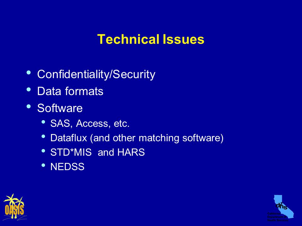 Technical Issues Confidentiality/Security Data formats Software SAS, Access, etc.
