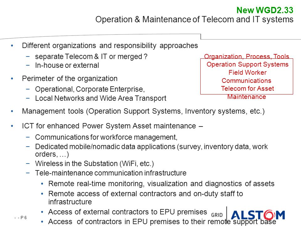 - - P 6 New WGD2.33 Operation & Maintenance of Telecom and IT systems Different organizations and responsibility approaches −separate Telecom & IT or merged .