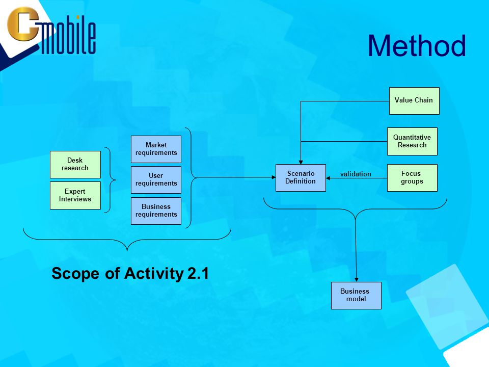 Method Scope of Activity 2.1 Focus groups Expert Interviews Desk research User requirements Market requirements Business requirements Scenario Definition validation Business model Quantitative Research Value Chain