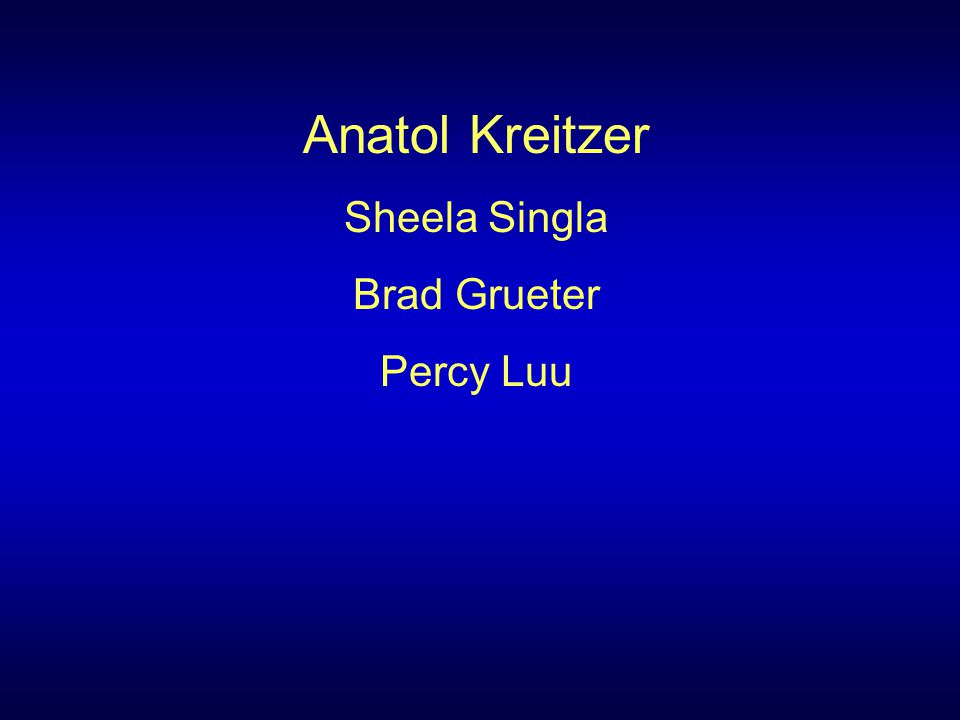 Anatol Kreitzer Sheela Singla Brad Grueter Percy Luu