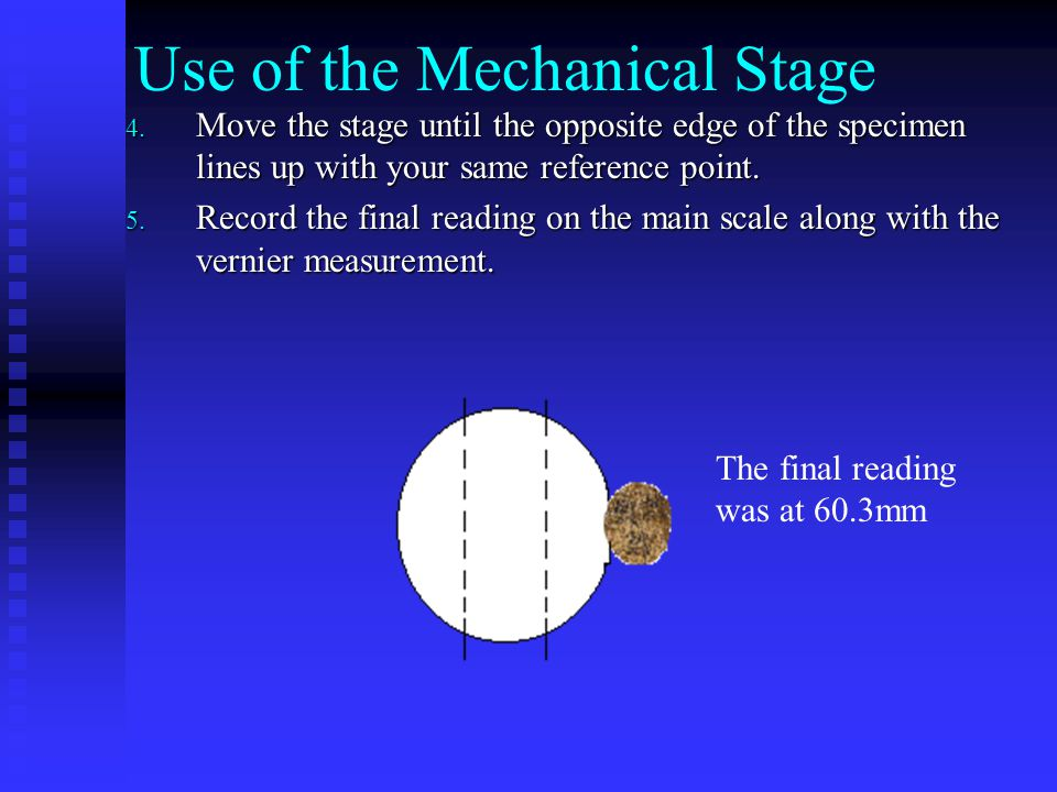 Use of the Mechanical Stage 4.