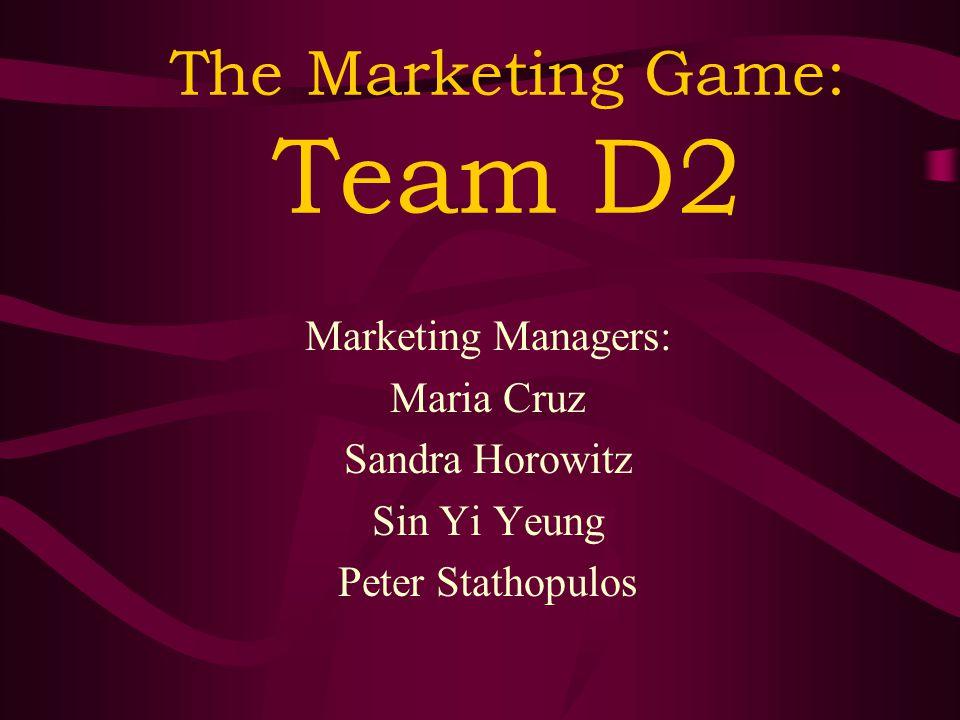 The Marketing Game: Team D2 Marketing Managers: Maria Cruz Sandra Horowitz Sin Yi Yeung Peter Stathopulos